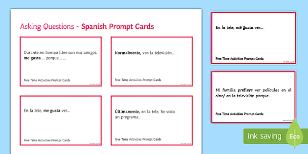 General Conversation Free Time Activities Question Prompt Cards