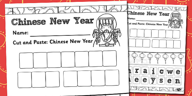 Cut and Paste Chinese New Year Sentence Activity Sheet - activity, worksheet