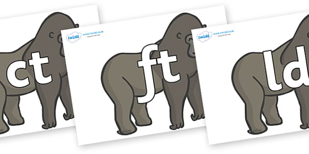 Final Letter Blends on Gorillas - Final Letters, final letter, letter blend, letter blends, consonant, consonants, digraph, trigraph, literacy, alphabet, letters, foundation stage literacy
