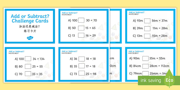Ma T2 M 473 Addition And Subtraction Maths Challenge Cards English Mandarin Chinese on Jonah And The Big Fish Story Sequencing