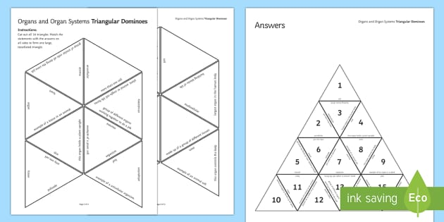 Organs and Organ Systems Triangular Dominoes - Tarsia, Dominoes, Organs, Organ Systems, Cell, Tissue, Organism, Revision,