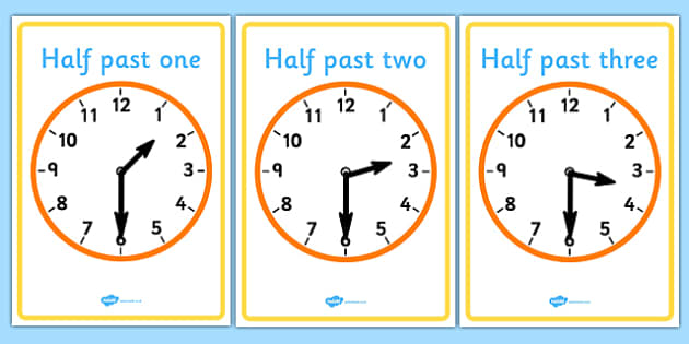 Analogue Clocks - Half Past - education, home school, child development, children activities, free, kids, math games, worksheets, number work
