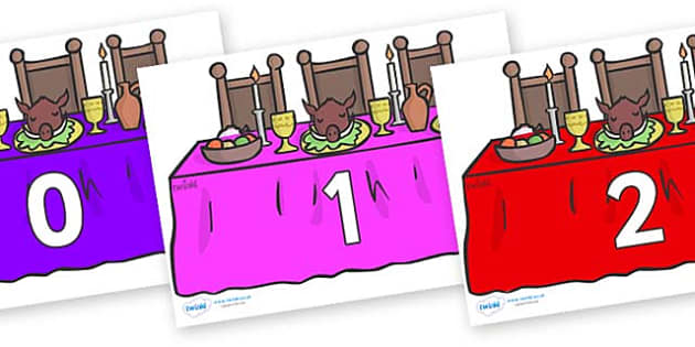 Numbers 0-31 on Dining Tables (Multicolour) - 0-31, foundation stage numeracy, Number recognition, Number flashcards, counting, number frieze, Display numbers, number posters