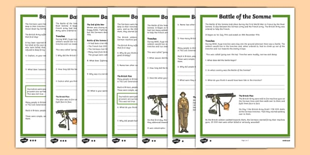 Battle of the Somme KS2 Differentiated Comprehension Activity - battle of the somme, differentiated, activity, comprehension activity