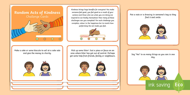 Random Act of Kindness Challenge Cards - kindness, challenge card