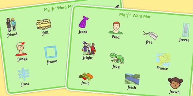FR Word Mats - fr, word mats, word, mats, sen, sound, fr sound, speech, language