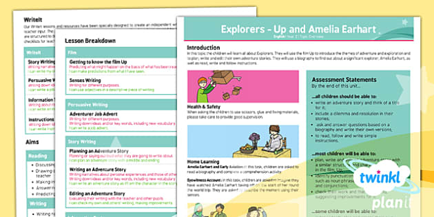 PlanIt Y2 Explorers Topic Overview - explorers, adventure, story, stories, Up, Amelia Earhart
