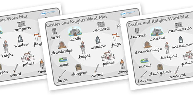 Castles and Knights Word Mat -  Knights, Castles, word mat, writing aid, Castles and Knights, maiden, castle, tower, dragon, sword, horse, flag, shield, dungeon