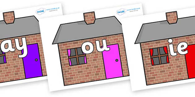 Phase 5 Phonemes on Brick houses - Phonemes, phoneme, Phase 5, Phase five, Foundation, Literacy, Letters and Sounds, DfES, display