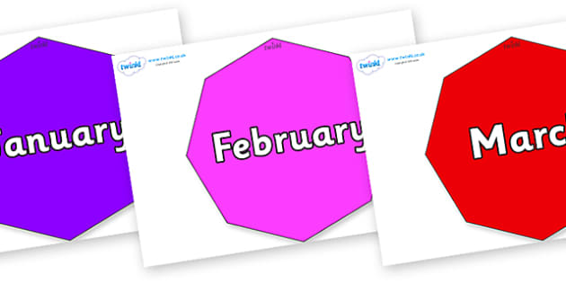 Months of the Year on Octagons - Months of the Year, Months poster, Months display, display, poster, frieze, Months, month, January, February, March, April, May, June, July, August, September