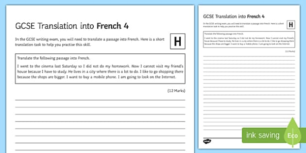 GCSE French Translation into French 4 Higher Tier Activity Sheet-French
