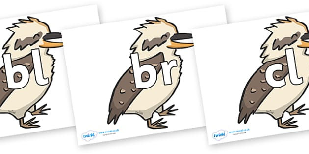 Initial Letter Blends on Kookaburras - Initial Letters, initial letter, letter blend, letter blends, consonant, consonants, digraph, trigraph, literacy, alphabet, letters, foundation stage literacy