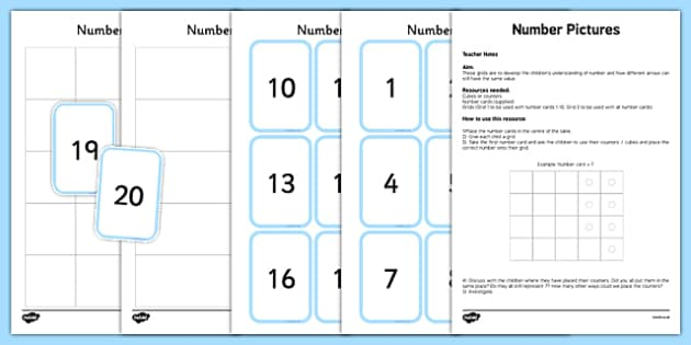 Number Pictures Activity Sheet, worksheet