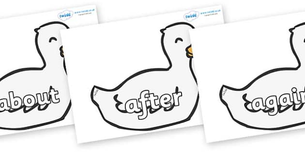 KS1 Keywords on Mother Duck - KS1, CLL, Communication language and literacy, Display, Key words, high frequency words, foundation stage literacy, DfES Letters and Sounds, Letters and Sounds, spelling