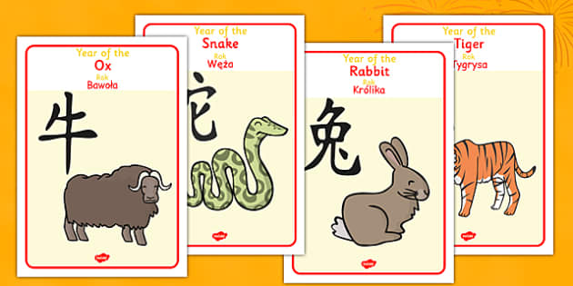 Chinese Year Of The Zodiac Animal Display Posters Polish Translation - polish, chinese new year, zodiac, animal, display posters