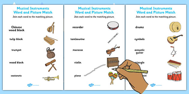 musical instruments word and picture matching activity sheets &