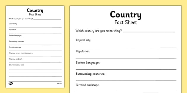 Country Factsheet Writing Template - country factsheet, places factsheet, country research sheet, country worksheet, country research worksheet, geography