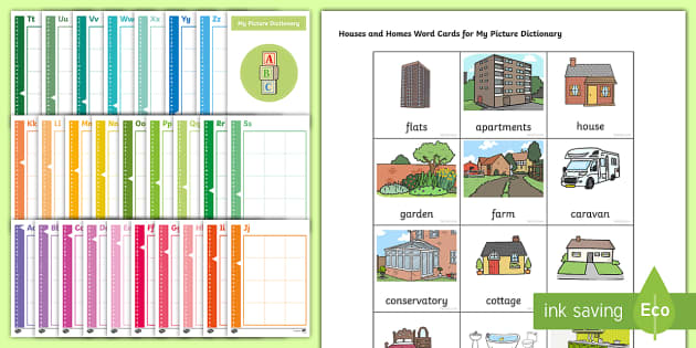 Houses and Homes Picture Dictionary and Word Card Set - word card