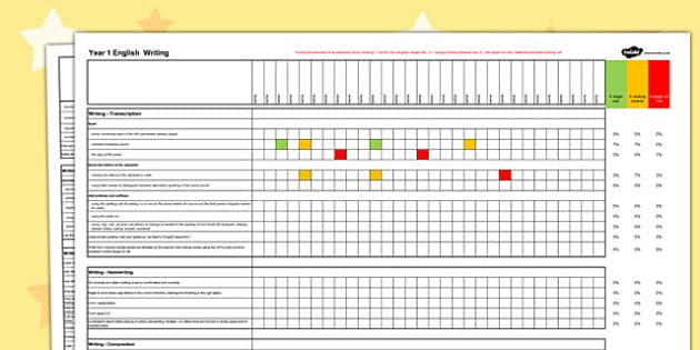 2014 Curriculum Year 1 English Writing Spreadsheet - targets, read