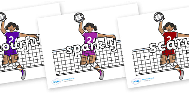 Wow Words on Volleyball Players - Wow words, adjectives, VCOP, describing, Wow, display, poster, wow display, tasty, scary, ugly, beautiful, colourful sharp, bouncy