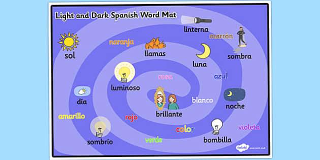 Light and Dark KS1 Word Mat Spanish - Spanish, Word, Light, Dark