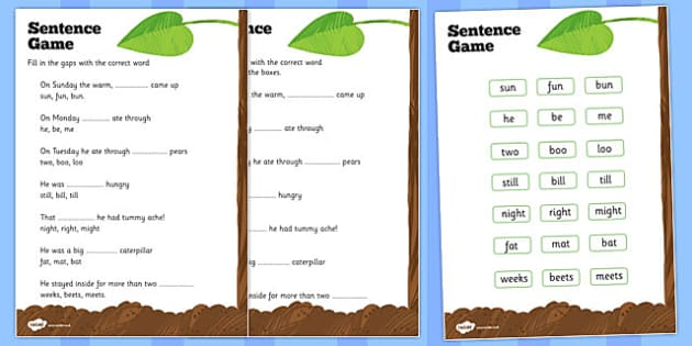 Sentence Worksheet to Support Teaching on The Very Hungry Caterpillar - the very hungry caterpillar, sentances, sentence worksheet, words, letters, literacy, english