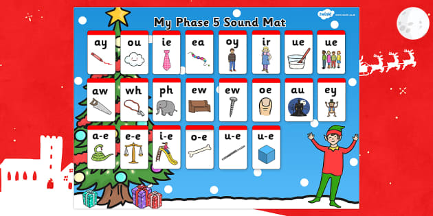 Elf Themed Phase 5 Sound Mat - elf, sound mat, elf on the shelf