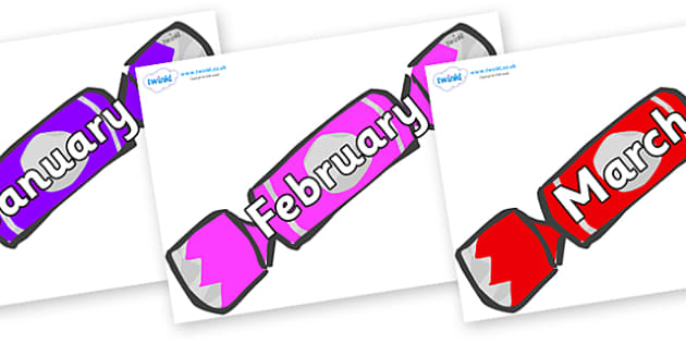 Months of the Year on Christmas Crackers (Multicolour) - Months of the Year, Months poster, Months display, display, poster, frieze, Months, month, January, February, March, April, May, June, July, August, September