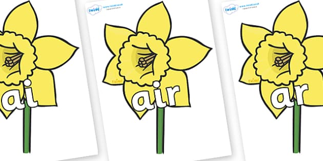 Phase 3 Phonemes on Daffodils - Phonemes, phoneme, Phase 3, Phase three, Foundation, Literacy, Letters and Sounds, DfES, display