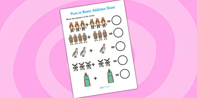 Puss in Boots Addition Sheet - puss in boots, addition sheet, addition, worksheets, maths, numeracy, themed addition sheet, adding, plus, addition sheet