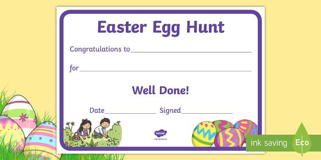 easter egg hunt reward certificate certificate reward well
