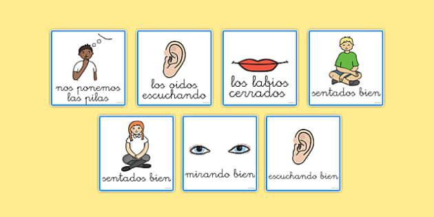 Tarjetas de buen comportamiento en la clase - escuchar, sentar, hacer bien, normas clase,