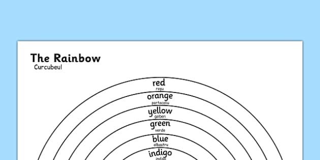 The Rainbow Colours Colouring Sheet Romanian Translation - romanian, rainbow, colours, colouring