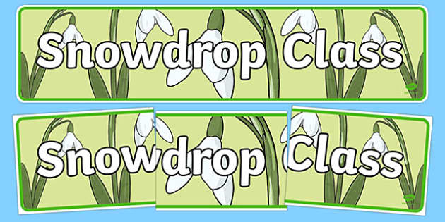 Snowdrop Themed Classroom Display Banner - Themed banner, banner, display banner, Classroom labels, Area labels, Poster, Display, Areas