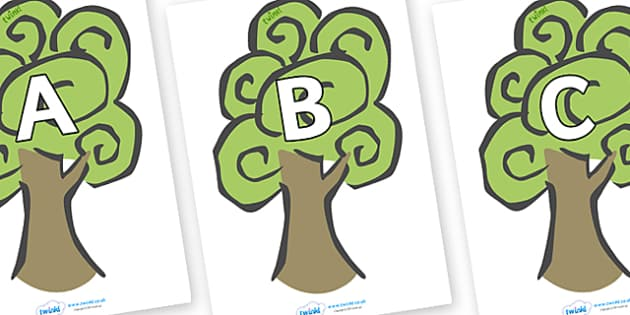 A-Z Alphabet on Trees - A-Z, A4, display, Alphabet frieze, Display letters, Letter posters, A-Z letters, Alphabet flashcards