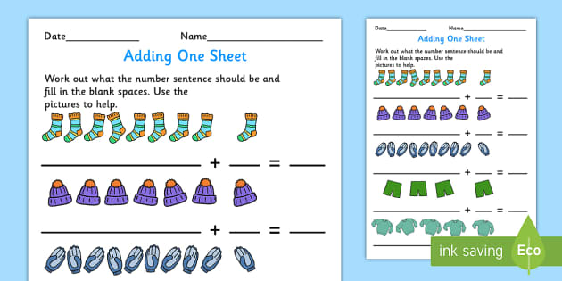 Adding 1 Worksheet - adding, 1, worksheet, add, math, one, number