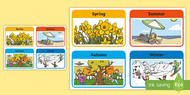 Seasons - display lettering - Seasons Primary Resources, season, spring, summer, autumn, winter, calender, claneder