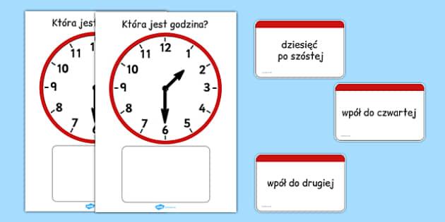 Zegar analogowy z kartami do dopasowania po polsku - czas