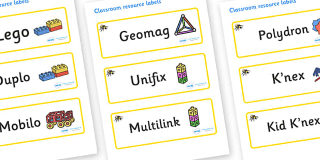 Bee Themed Editable Construction Area Resource Labels - Themed Construction resource labels, Label template, Resource Label, Name Labels, Editable Labels, Drawer Labels, KS1 Labels, Foundation Labels, Foundation Stage Labels