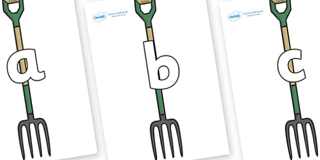 Phoneme Set on Garden Forks - Phoneme set, phonemes, phoneme, Letters and Sounds, DfES, display, Phase 1, Phase 2, Phase 3, Phase 5, Foundation, Literacy