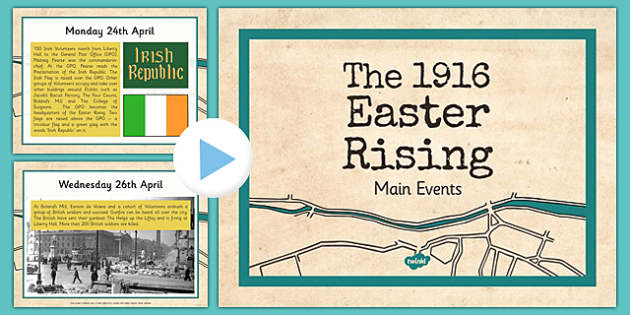 1916 Rising PowerPoint The Events - Easter 1916 Rising, irish history, powerpoint presentation, events of 1916, timeline