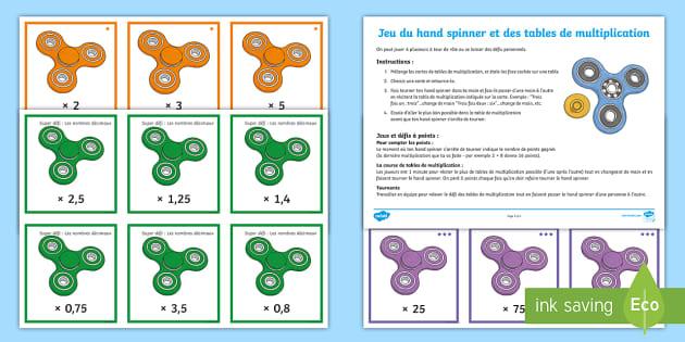 Jeu de d fis du hand spinner et des tables de multiplication for Les tables de multiplications ce1