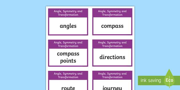 CfE Second Level Numeracy and Mathematics: Angle, Symmetry and Transformation Keyword Flashcards-Scottish - Wall Display, keywords, MNU 2-17a, MNU 2-17b, MNU 2-17c, MNU 2-17d, MNU 2-18a, MNU 2-19a, language o