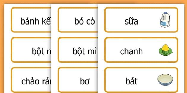 Pancake Day Recipe Word Cards - australia, pancake, day, cards - Vietnamese
