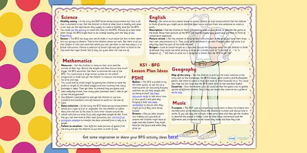 Lesson Plan Ideas KS1 to Support Teaching on The BFG - BFG, KS1, lesson plan, roald dahl