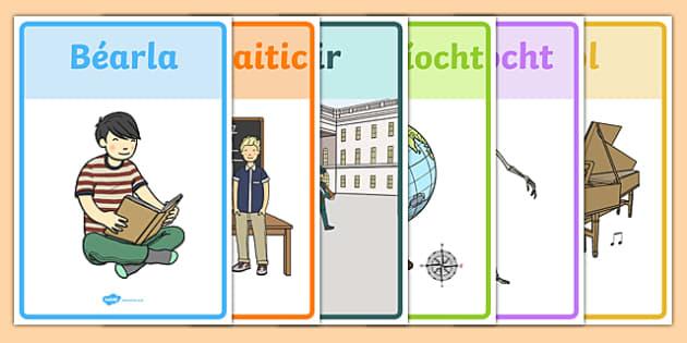 Display Posters Ábhair Scoile Irish Gaeilge - gaeilge, irish, display, ábhair scoile, school subjects, ar scoil