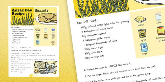 Anzac Biscuit Recipe Sheet - australia, anzac, biscuit, recipe