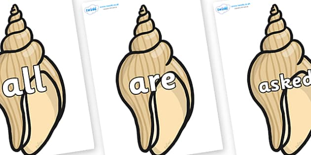 Tricky Words on Conch Shells - Tricky words, DfES Letters and Sounds, Letters and sounds, display, words