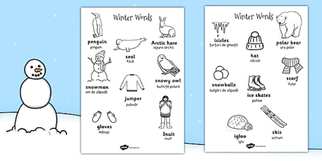 Winter Words Colouring Sheets EAL Romanian Translation - romanian