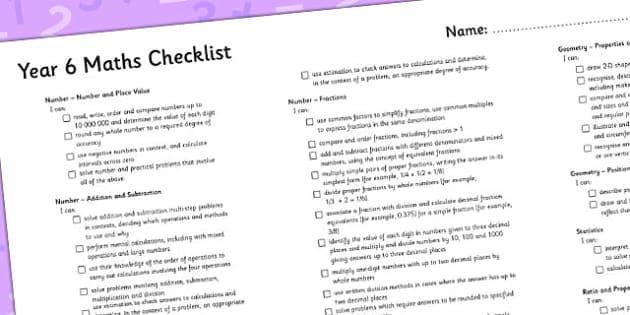 2014 Curriculum Year 6 Maths Assessment Checklist - numeracy, ks2